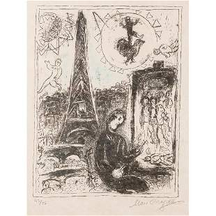 Marc Chagall Lithograph, The Painter At The Eiffel