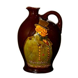 Royal Doulton 'Micawber' Whiskey Flask in Kingsware