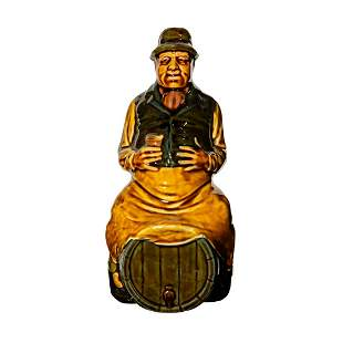 Royal Doulton Kingsware Whiskey Bottle Man on Barrel