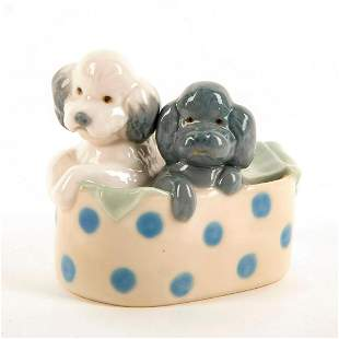 Puppies in the Laundry Basket - Nao Porcelain Figure by