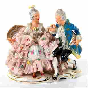 Dresden Porcelain Figurine of Man and Woman on Chaise