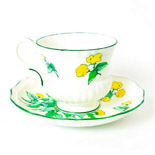 Crown Staffordshire Cornwall Pattern Tea Cup And Saucer