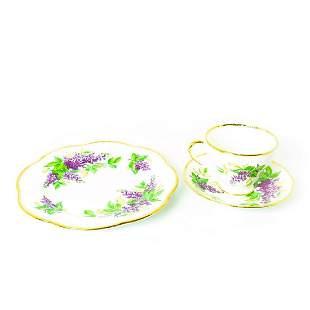 Salisbury Bone China, Lilac Patterned Tea Trio