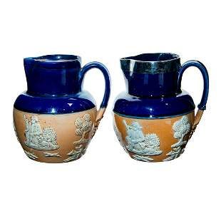 2pc Doulton Lambeth Stoneware Jugs, Hunting