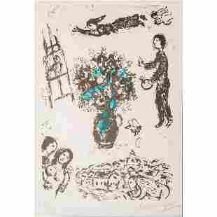 Marc Chagall Signed Lithograph Bouquet Sur La Ville