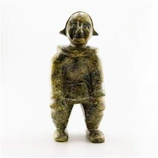 Inuit Serpentinite Stone Sculpture, Native Girl In