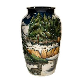 Lg Moorcroft Pottery Anji Davenport Vase, Isle Royale,