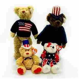 4 pc Beanie Babies, Patriotic Teddy Bear, Plush Toy