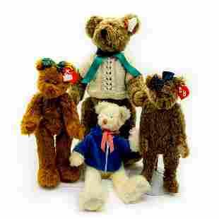 4pc Beanie Babies, Brown and White Teddy Bears, Plush