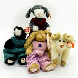 pc Beanie Babies, Cat, Goat, Rabbit and Sheep Plush