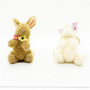 Two North American Bear Plush Rabbits, Bud And Rose