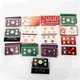 10 Us Mint Silver Proof Sets (1990-2001)