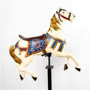 M.C Illions and Sons Small Carousel Horse on Stand