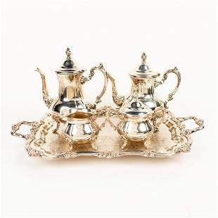 A SILVER PLATE TEA SET AND TRAY