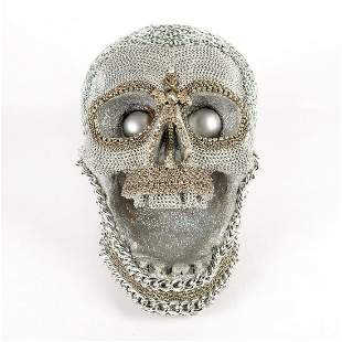 Screaming Skull Chain Link Sculpture