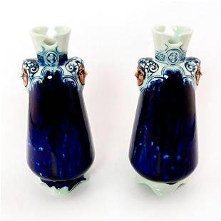 Pair of Blue Flambe Jianyang Vase