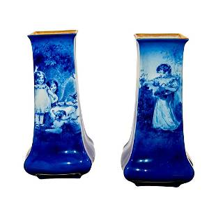 Pair of Royal Doulton Seriesware Blue Children Vases