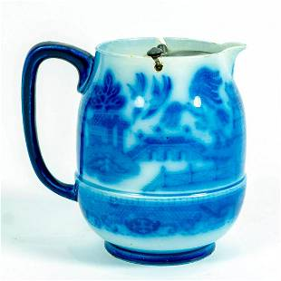 Doulton Burslem, Blue Willow Pitcher With Pewter Swing