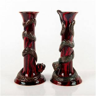 Pair of Royal Doulton Flambe Puning Snake Candlesticks