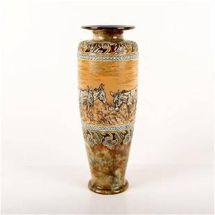 Doulton Lambeth Hannah Barlow Vase, Donkeys