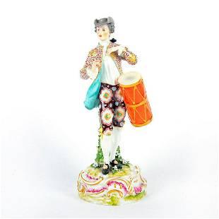 European Vintage Porcelain Figurine, Man With Drum