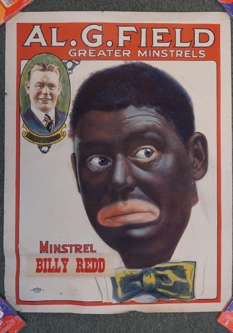 "1910-1920S RARE ORIGINAL BLACK MINSTRELS POSTER 21X28"""