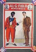 "1910-1920S RARE ORIGINAL BLACK MINSTRELS POSTER 41X27"""