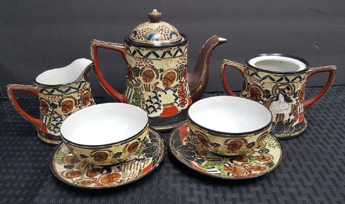 1940'S VINTAGE 7 PC. SATUMA TEA SET NIPPON TEA POT