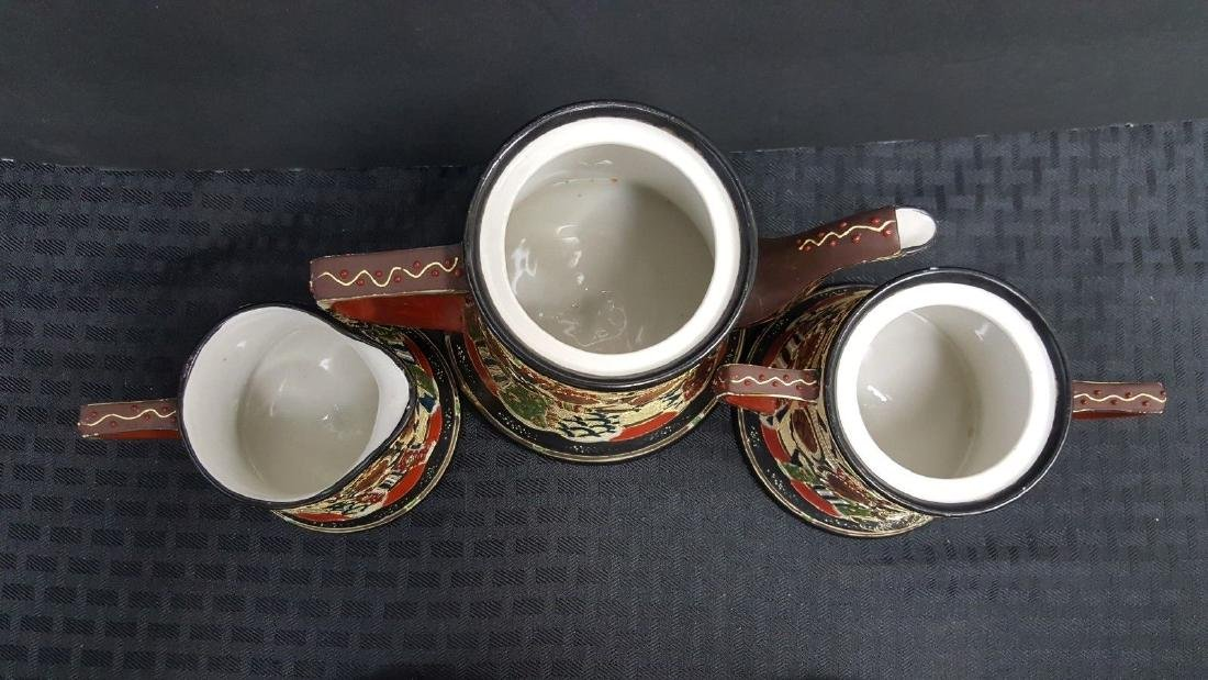 1940'S VINTAGE 7 PC. SATUMA TEA SET NIPPON TEA POT - 3