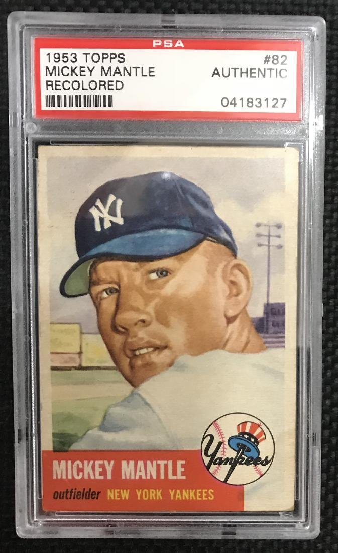 1953 TOPPS BASEBALL CARD 82 MICKEY MANTLE PSA AUTHENTIC