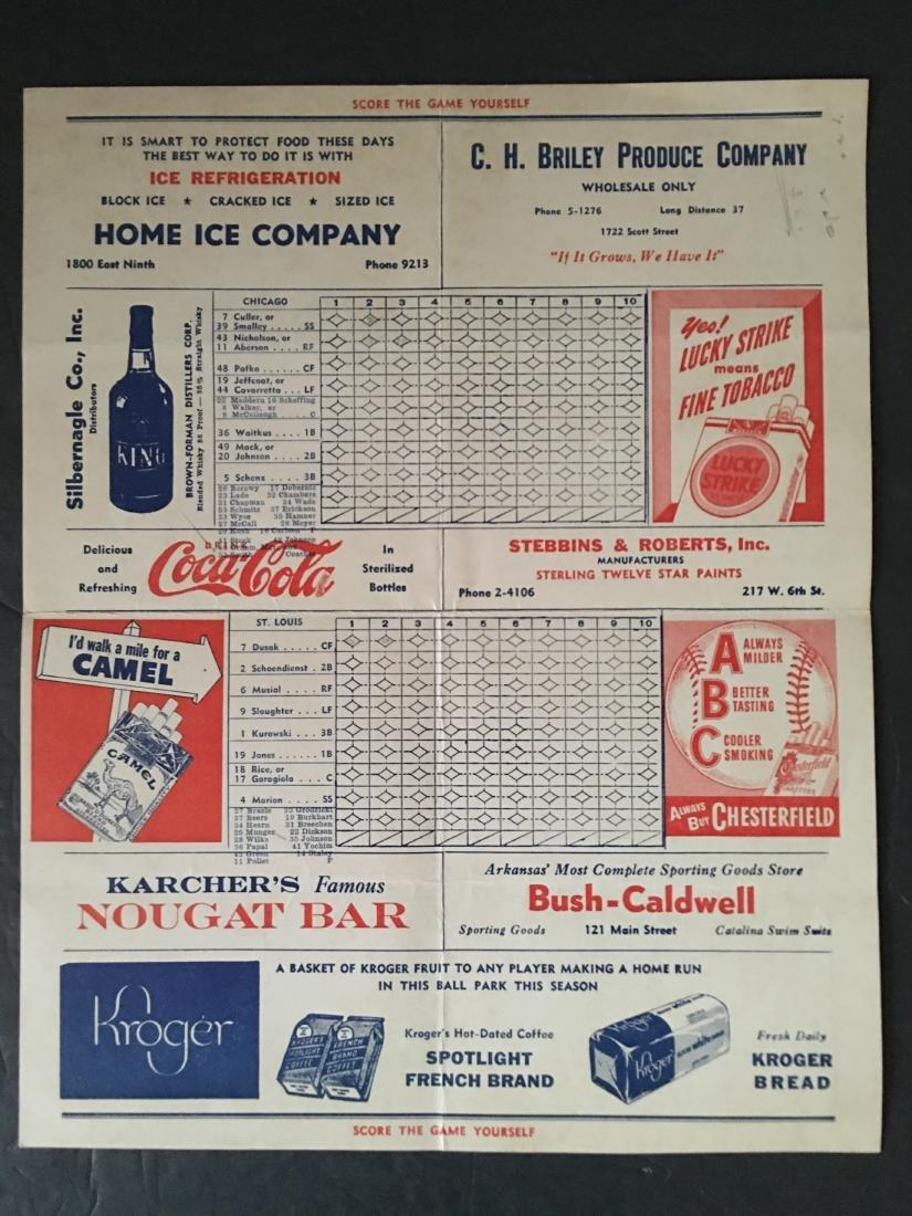 1930'S? CARDINALS VS CUBS SCORECARD BUDWEISER - 2
