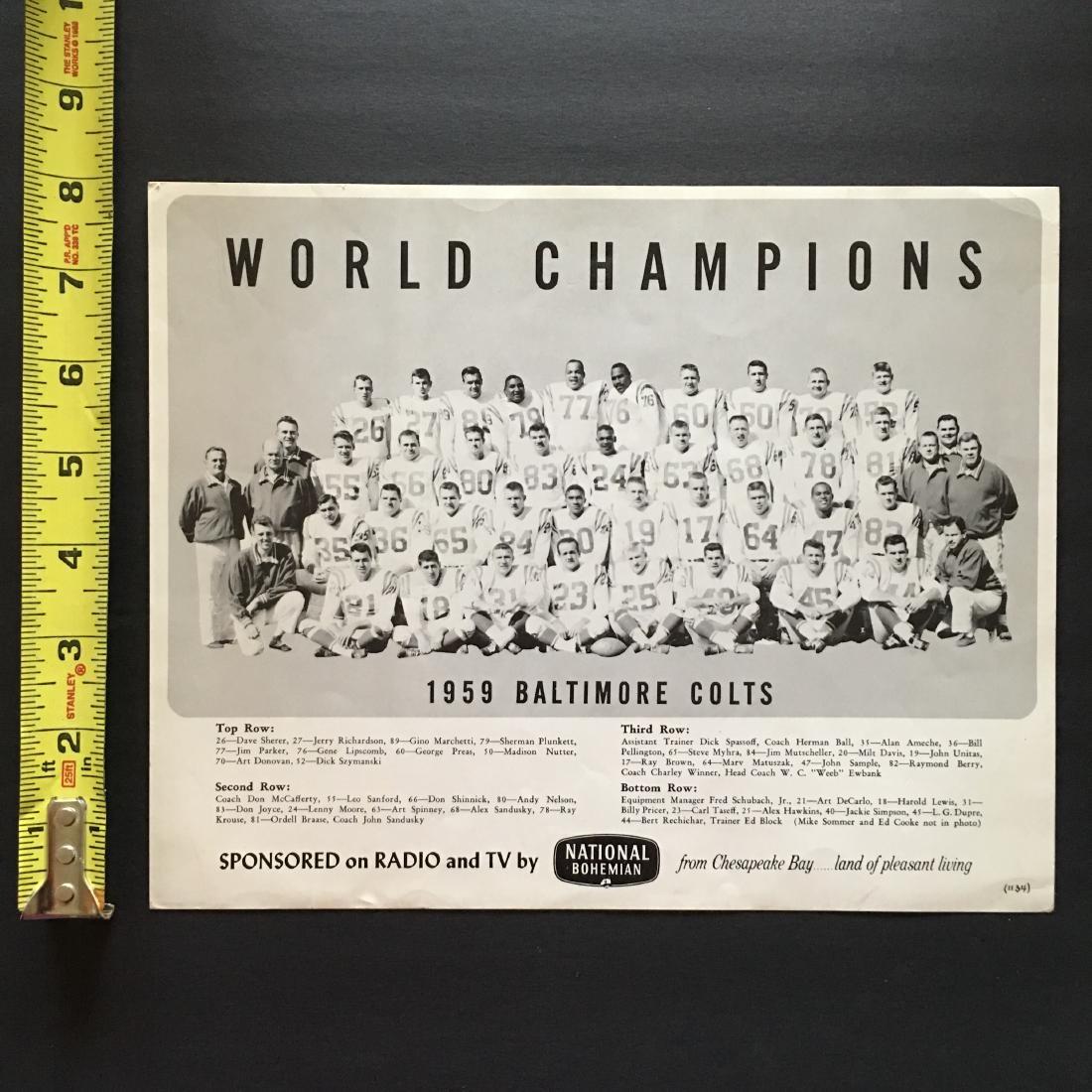 1959 BALTIMORE COLTS WORLD CHAMPIONS PHOTO