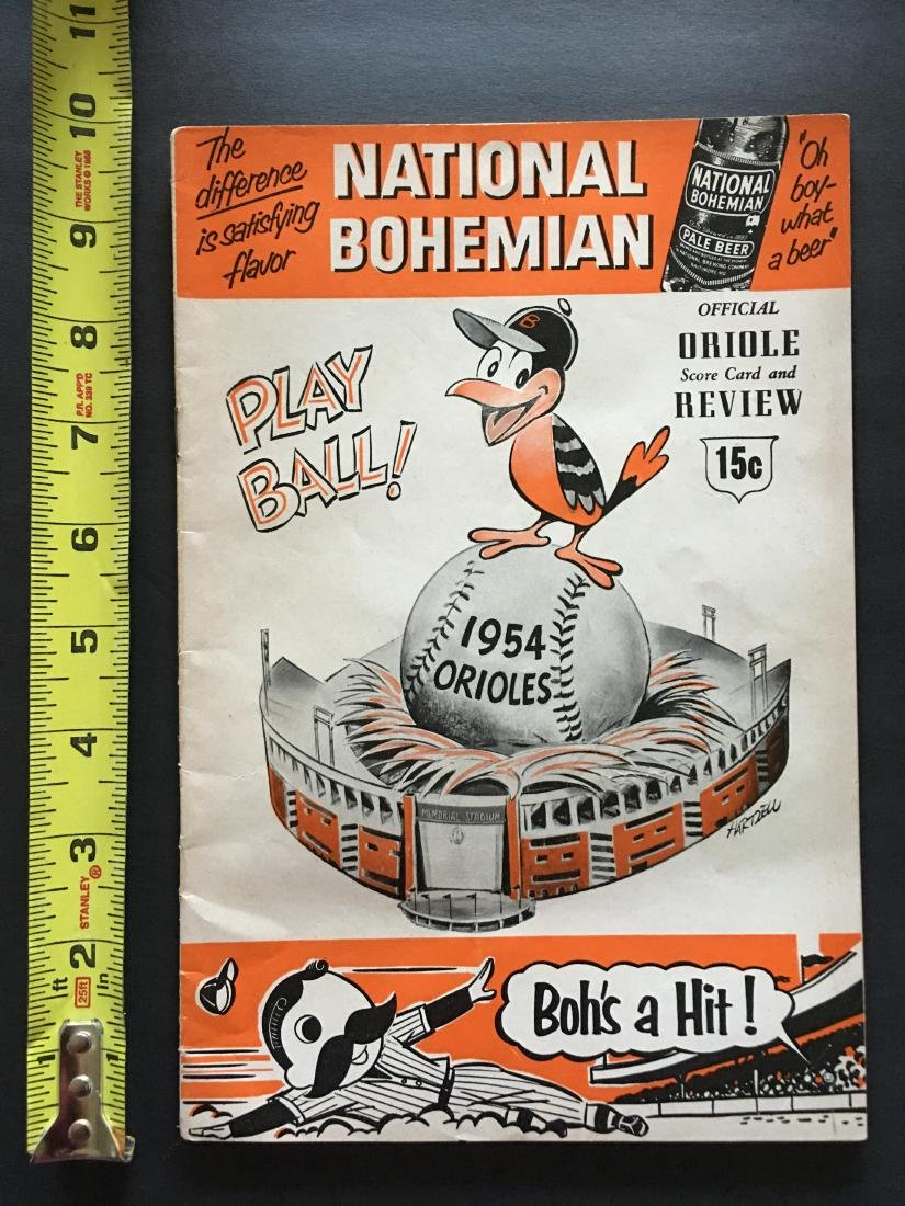 1954 MLB ORIOLES SCORE CARD & REVIEW BOOK
