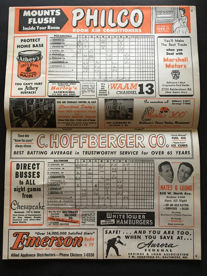 1954 MLB ORIOLES SCORE CARD & REVIEW BOOK - 3