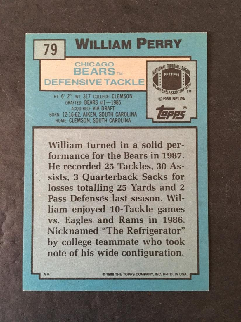 WILLIAM PERRY CHICAGO BEARS SIGNED CARD #79 - 2