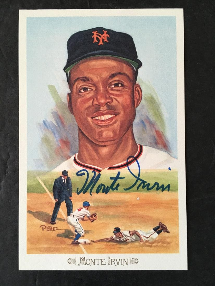 MONTE IRVIN HAND SIGNED POST CARD W/COA