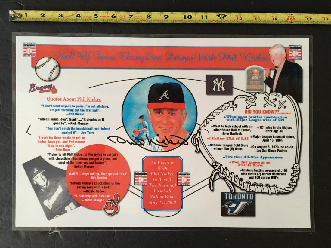 BASEBALL PHIL NIEKRO SIGNED PLACEMAT W/COA