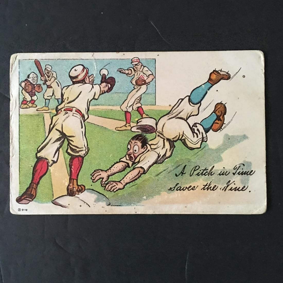 """VINTAGE 1913 BASEBALL COMIC HUMOR POST CARD """"A PITCH IN"""
