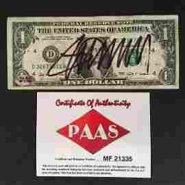 PRESIDENT DONALD TRUMP SIGNED $1 BILL W/COA