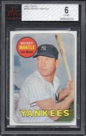 1969 TOPPS BASEBALL MICKEY MANTLE #500A BVG 6