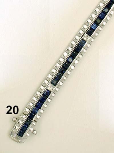 20: Armband WG 750/000, ca. 76 Saphircarrées zus. 4,54