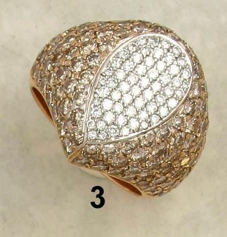 3: Ring WG/RG 750/000, 58 Brillanten zus. 0,56 ct. w/vs