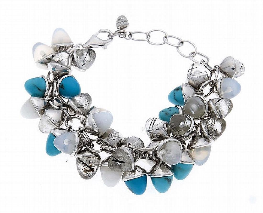 Türkis-Opal-Brillant-Armband WG 750/000 mit 10