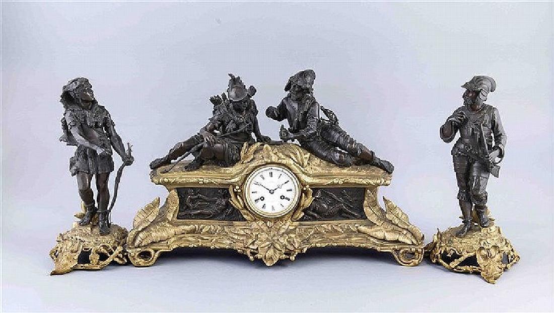 Historisierende Figuren-Pendule, Frankreich, Ende 19.