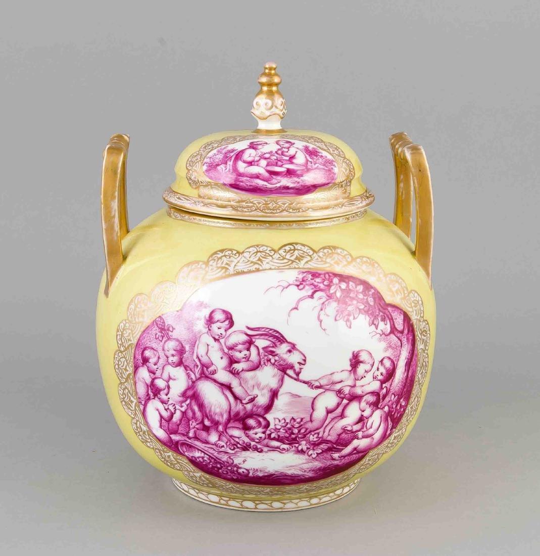 Lidded vase, Helena Wolfsohn, Dresden, mark 1875-1883,