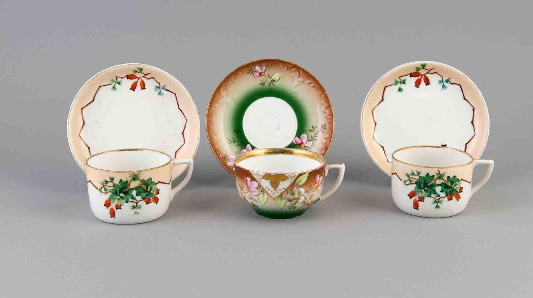 Three teacups with saucers, Russia, 20th century, cup