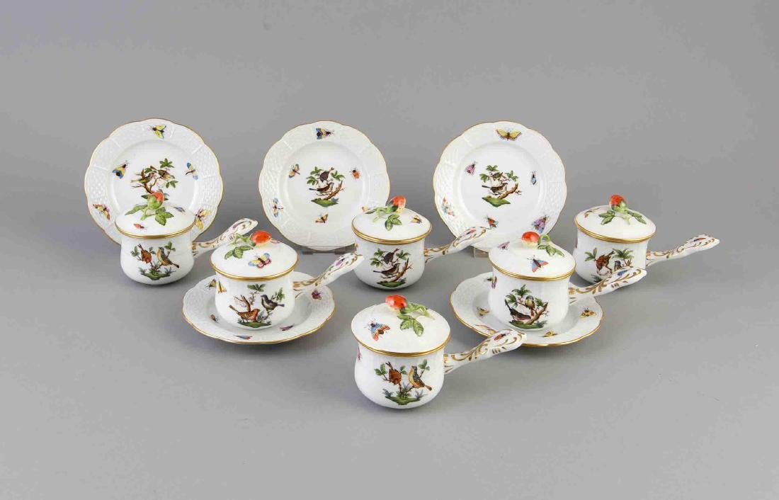 Six turtle soup cups with saucers, Herend, 17 pieces,