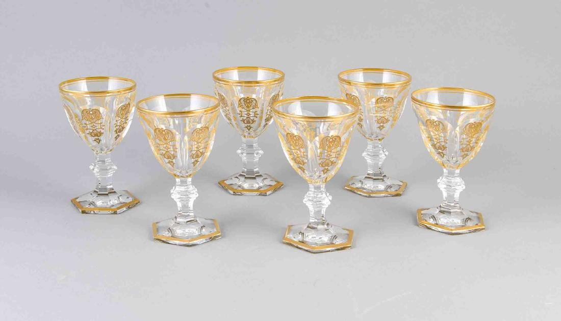 Six white wine glasses, France, 2nd half of the 20th