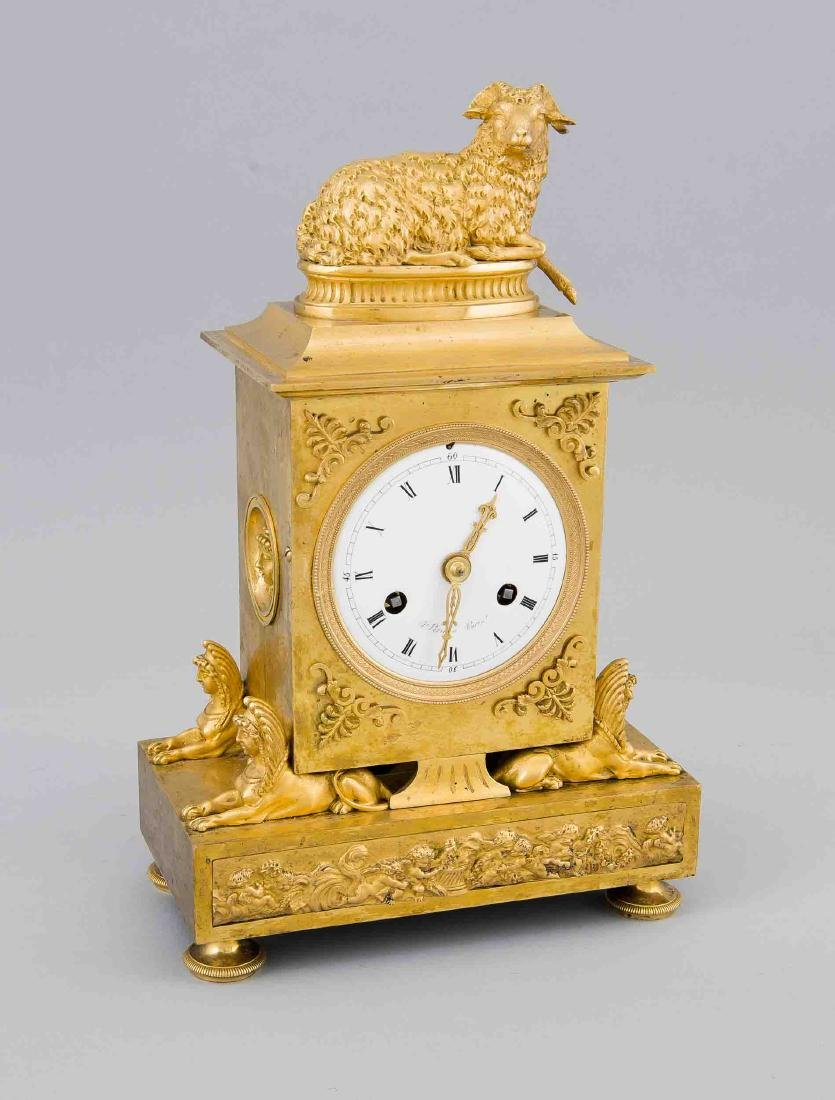 Fireplace Clock, France 19th century, fire-gilded