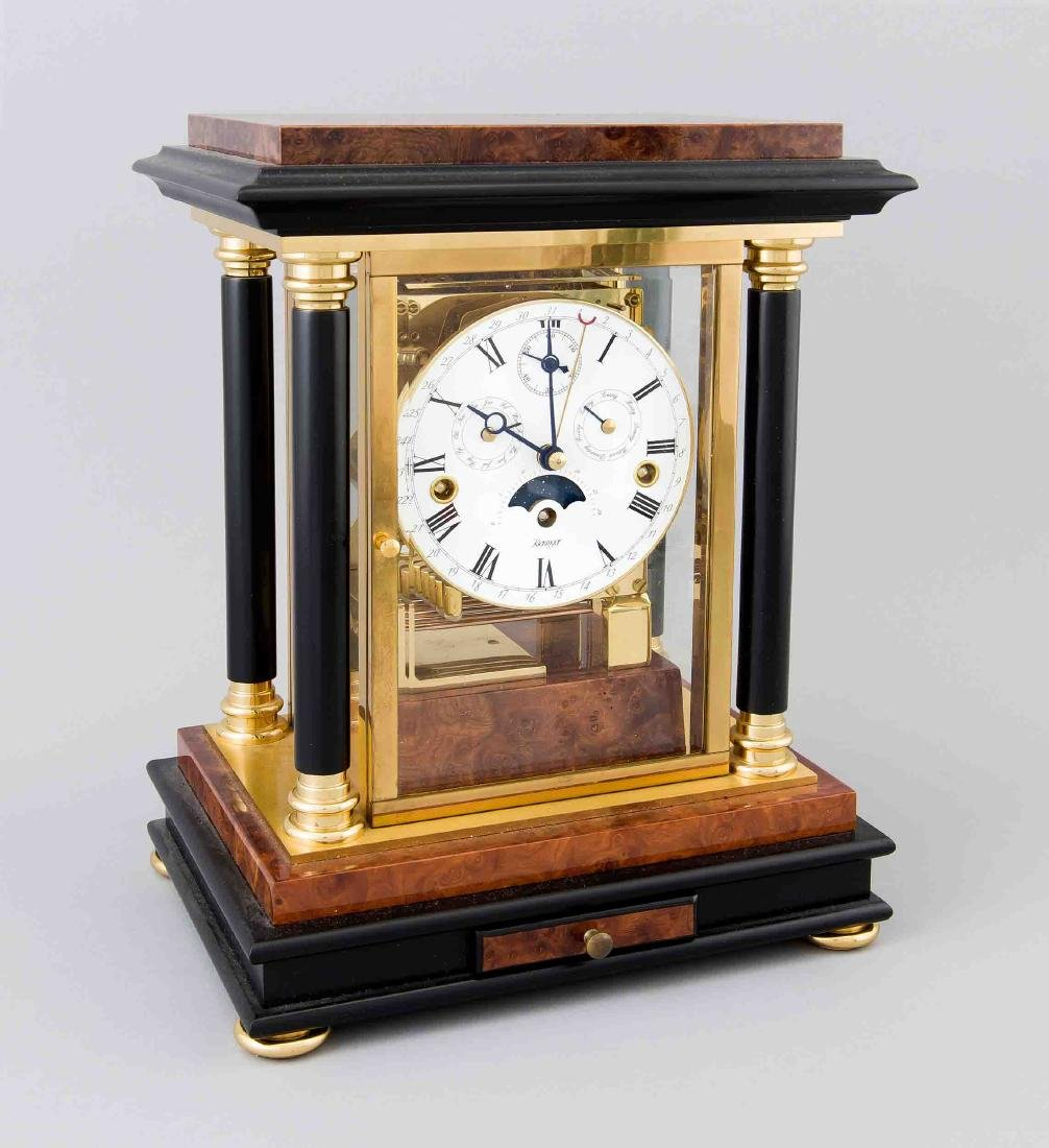 Moon phase desk clock, Kieninger, brass and root nut,